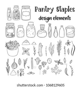 Illustration of a pantry staple objects.  Cute lovely doodle drawings of spices and herbs.