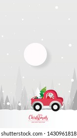 illustration of paper art Santa Claus is riding Red Classic pickup truck car and carry Christmas tree by gift, Christmas tree and winter season forest. Snowfall Landscape forest in full moon,vector.