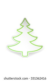illustration of paper christmas tree with transparent shadow on white background