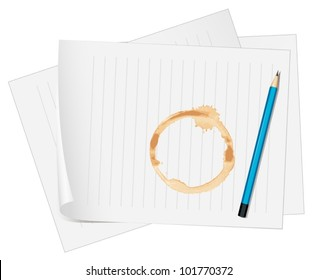 illustration of  paper with coffee stain