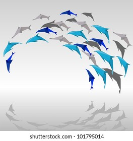 illustration of paper dolphins in a jump.