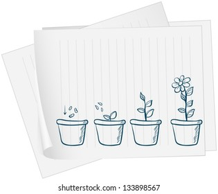 Illustration of a paper with a drawing of a growing plant on a white background