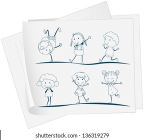 Illustration of a paper with a drawing of kids dancing on a white background