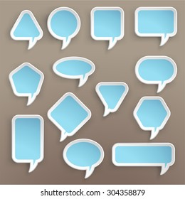 illustration of paper lists set with different shapes and blue color