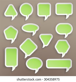 illustration of paper lists set with different shapes and green color
