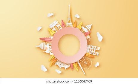 Illustration of paris 360 degrees view in autumn. 360 degree view of famous architecture in Paris. Paris city in autumn. paper cut and craft style. vector, illustration.