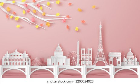 Illustration of Paris city, France on Autumn. France's famous architecture on Autumn. paper cut and craft design. vector, illustration.
