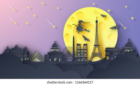 Illustration of Paris city on Halloween night. Paris's famous architecture on Halloween night. paper cut and craft style. vector, illustration.