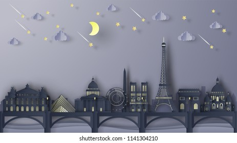 Illustration of the Paris City scene at night. Paris night lights. Paris's famous architecture at night time. Paris city scene of France. paper cut and craft style. vector, illustration.