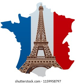 illustration of paris eiffel tower with country france