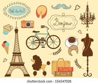 Illustration of paris related items