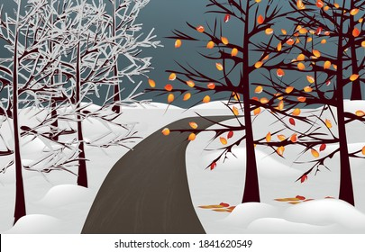 illustration of a park on one side trees in the snow, on the other, with the remaining autumn leaves, in the middle of the path, dark blue sky