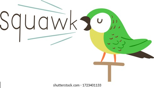 Illustration of a Parrot Bird on a Bird Stand Making a Squawk Sound