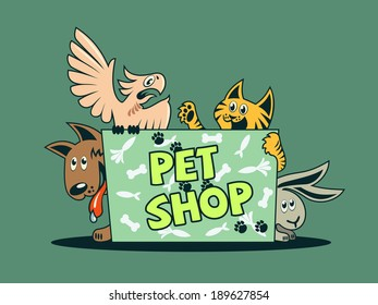 illustration of parrot, cat, dog, rabbit with shield