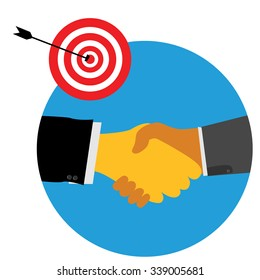 Illustration for Partnership for achieve goal or target