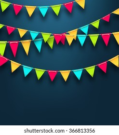 Illustration Party Dark Background with Bunting Flags for Holidays. Template for Poster, Signage, Postcard - Vector