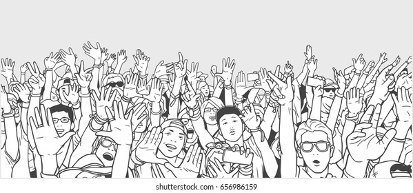 Illustration of partying crowd with raised hands