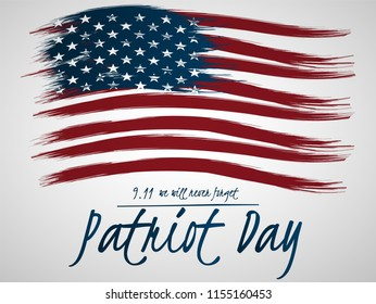 Illustration for Patriot Day.  Illustration with U.S. flag.