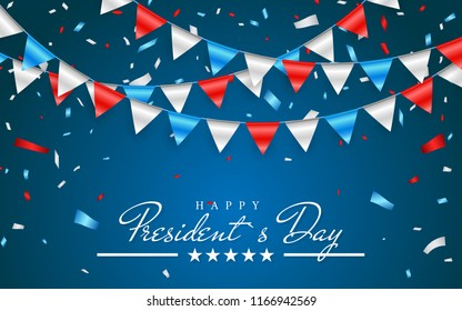 Illustration Patriotic Background with Bunting Flags for Happy Presidents Day and foil confetti., Colors of USA. Vector illustration.