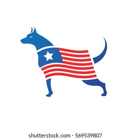 Illustration of a patriotic dog standing with a flag with red stripes and a star