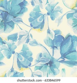 Illustration of a pattern with blue flowers