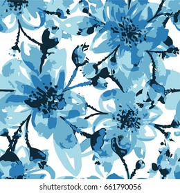 Illustration of a pattern with blue manual large flowers