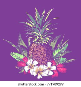 illustration of pattern design with exotic tropical flowers and leaves. vector