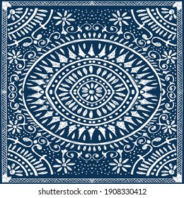 Illustration pattern ethnic design with colors and background for fashion design or other products