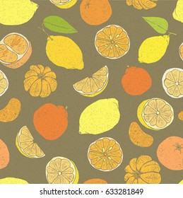 Illustration of a pattern with graphic bright lemons and mandarins