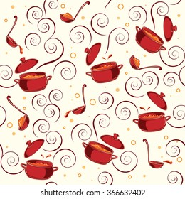 Illustration pattern with kitchen utensils on it: red saucepans and soup ladles on white background.