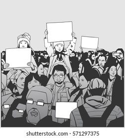 Illustration of peaceful crowd demonstration with family, children and elderly with blank signs in black, white and grey