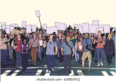 Illustration of peaceful crowd march with blank signs and banners in color
