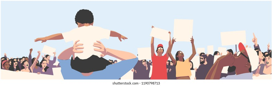 Illustration of peaceful crowd protest with children and students holding blank signs and banners