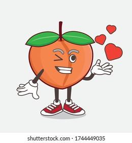 An illustration of Peach Fruit cartoon mascot character teasing with heart kiss