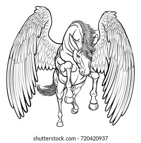 An illustration of a pegasus horse from Greek mythology rearing on its hind back legs