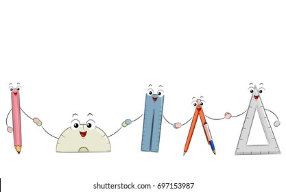 Illustration of a Pencil, Protractor, Ruler, Compass and Triangular Ruler Mascots