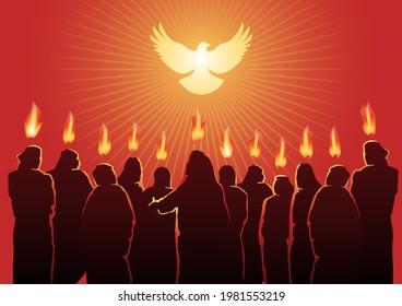 An illustration of Pentecost sunday holy spirit. Biblical Series
