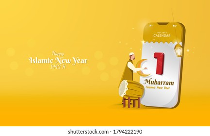 Illustration of people with 1 Muharram calendar or day of Islamic new year for greeting concept