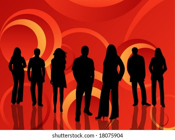 Illustration of people and abstract