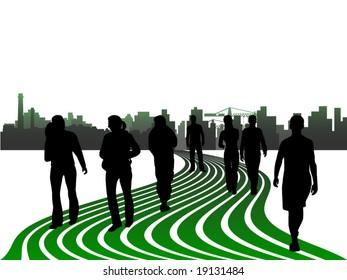 Illustration of people and city