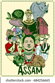 illustration of people and culture of Assam , India