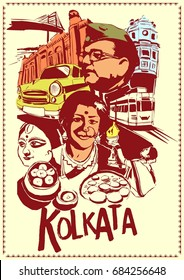 illustration of people and culture of Kolkata , India