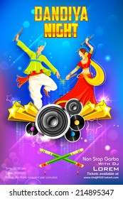 illustration of people dancing on disc in dandiya night