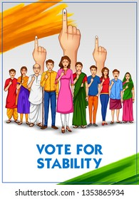 illustration of People of different religion showing voting finger for General Election of India