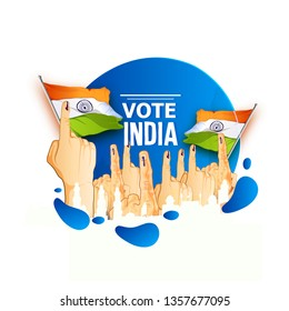 illustration of People of different showing voting finger vote for india