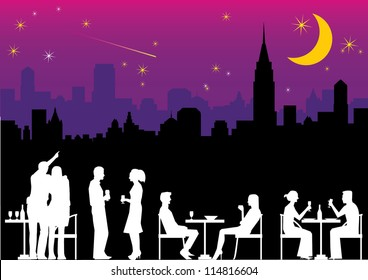 Illustration of people dining outdoor with city landscape background at night