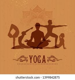 illustration of people doing asana for International Yoga Day on 21st June