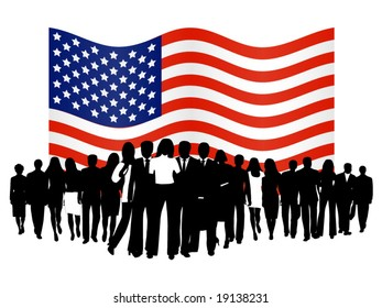 Illustration of people and flag