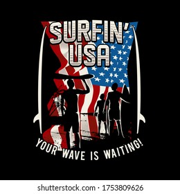 illustration people going the the beach for surfing, with usa flag as background,