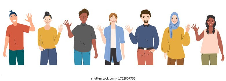 illustration of people greeting gesture, waving hand, saying hi. Men and women in different nations. Diversity people. Hand drawn modern vector